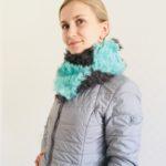 Меховой шарф, вязание мехом, меховые аксессуары, шарф из меховых нитей, шарф из меховой тесьмы, шарф из меха на сетке
